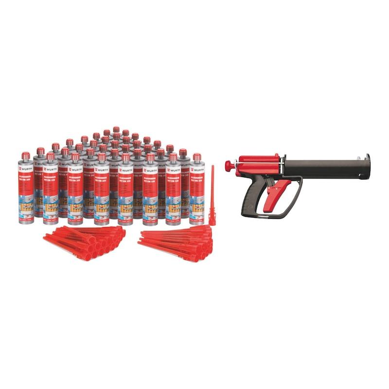 Lot de 48 cartouches de mortier chimique WIT-VM 250 avec pistolet d'extrusion Handymax