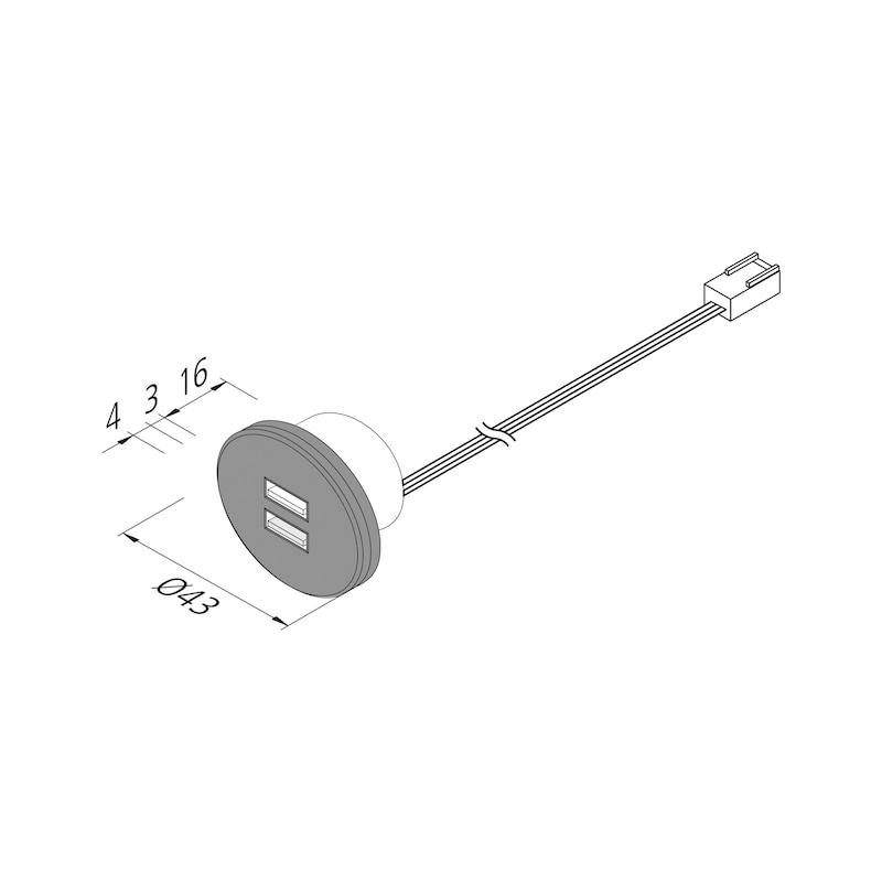 USB-Doppelsteckdose 24V aus Kunststoff im runden Design - 2
