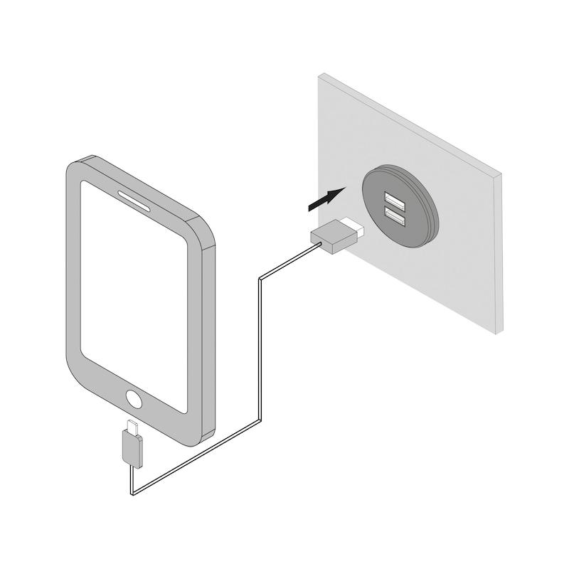 USB-Doppelsteckdose 24V aus Kunststoff im runden Design - 3