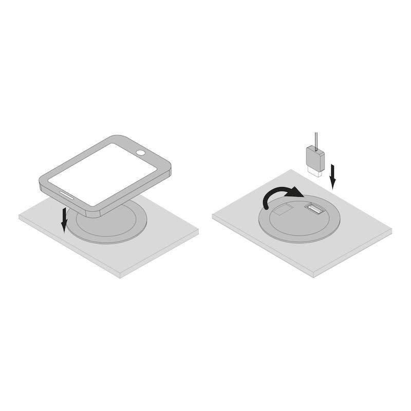 Induktive Ladestation 24V zum kabellosen Laden von Geräten mit Induktionsakkus sowie zusätzlicher USB Charger - 3