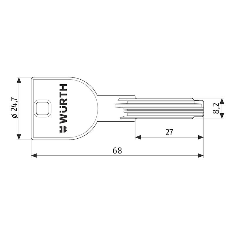 Schlüsselrohling für Lagerzylinder W6X - 2