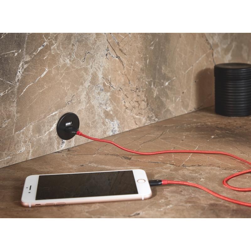 USB-Doppelsteckdose 24V aus Kunststoff im runden Design - 4