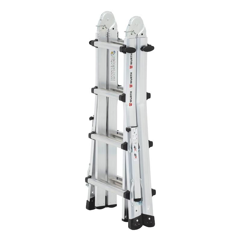 Scala telescopica in alluminio con staffe traversa richiudibili - 4