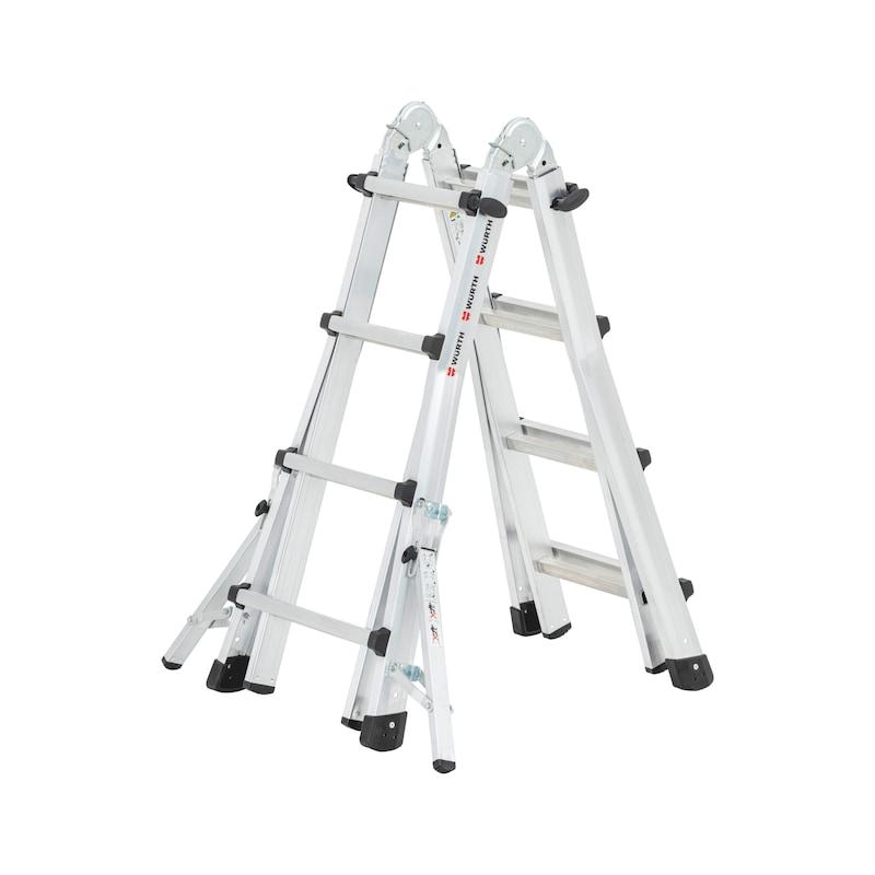 Scala telescopica in alluminio con staffe traversa richiudibili - 1