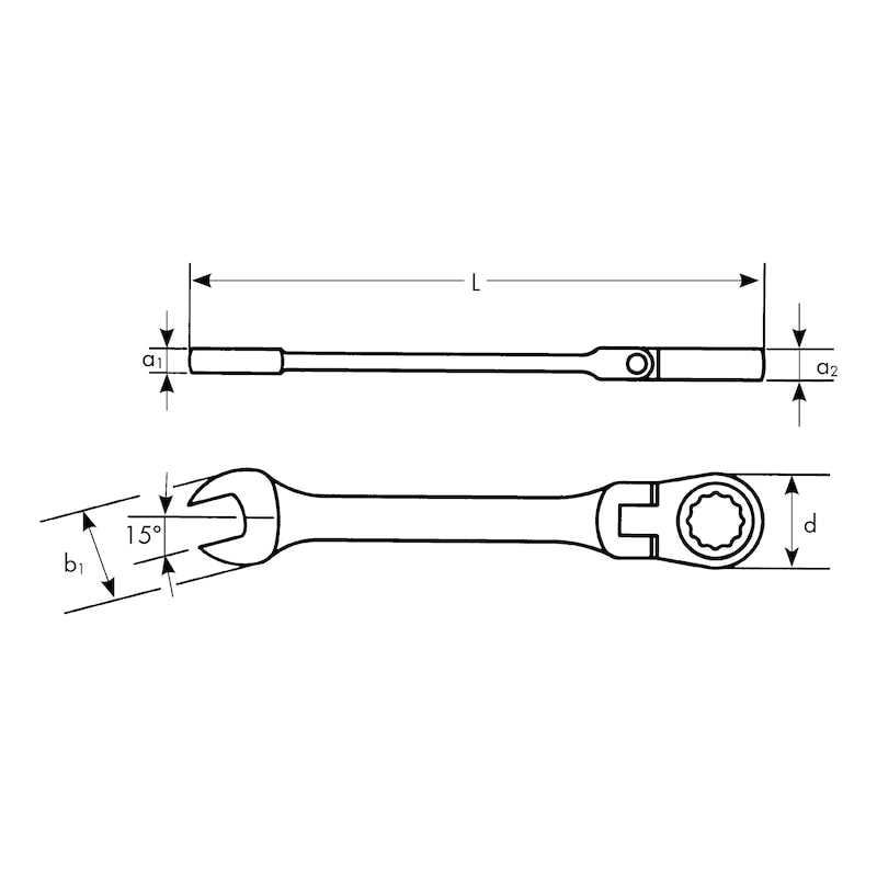 Chave combinada boca/luneta - CHAVE DE ROQUETE FLEXIVEL 8MM