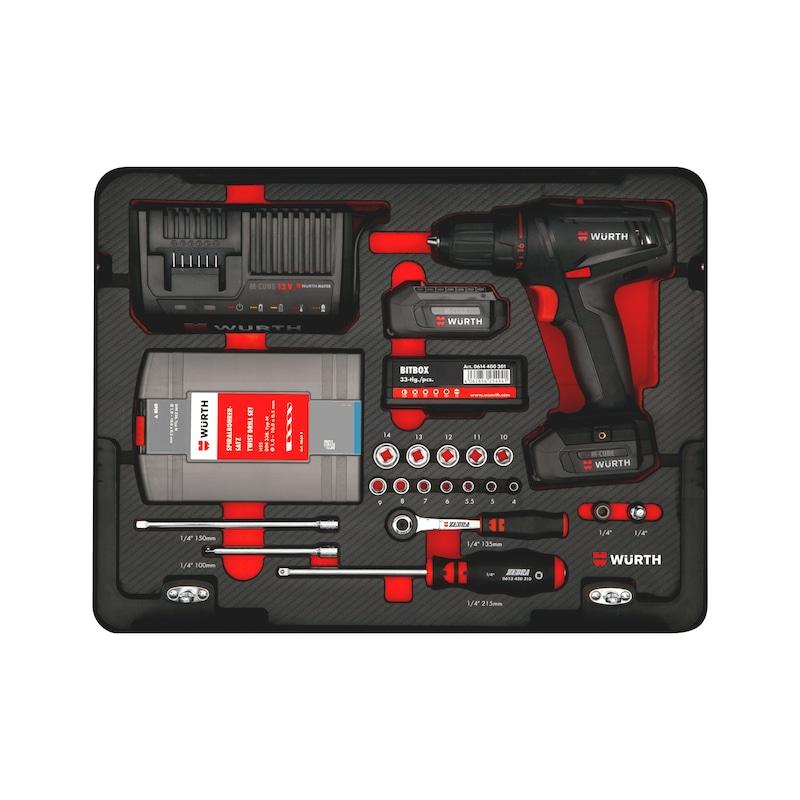 Assortimento di utensili con trapano avvitatore a batteria M-CUBE®, 109 pezzi - 4