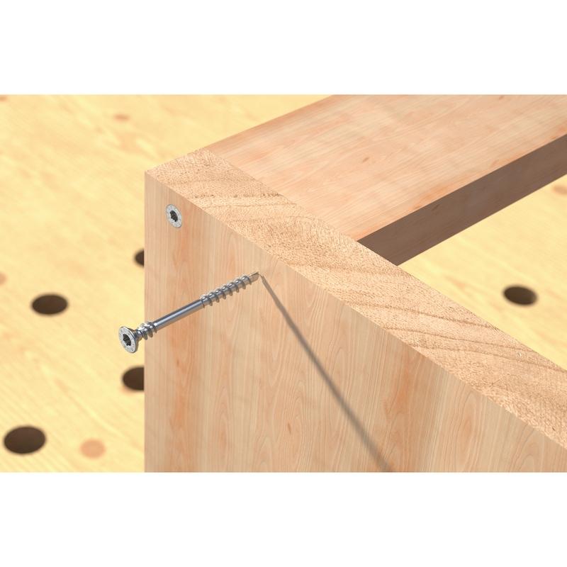 Vis pour plaque en matériau dérivé du bois ASSY<SUP>®</SUP>plus 4 P CSMR Acier zingué trempé, filetage partiel avec filetage sous la tête, tête fraisée - 11