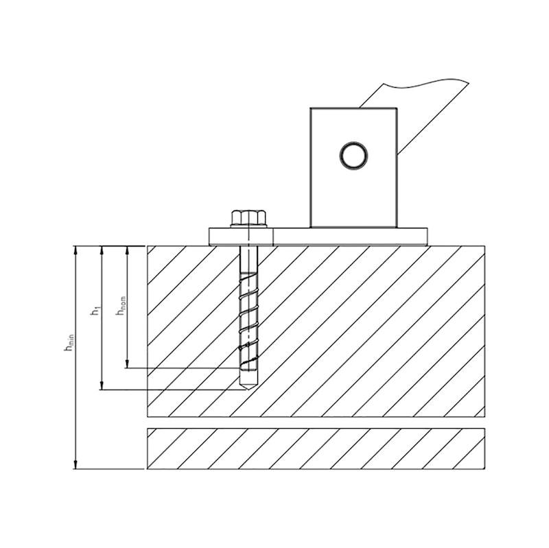 Betonschroef W-BS-T, tijdelijke bevestiging - ANK-(W-BS-T)-(A2K)-SW22-15-14X130