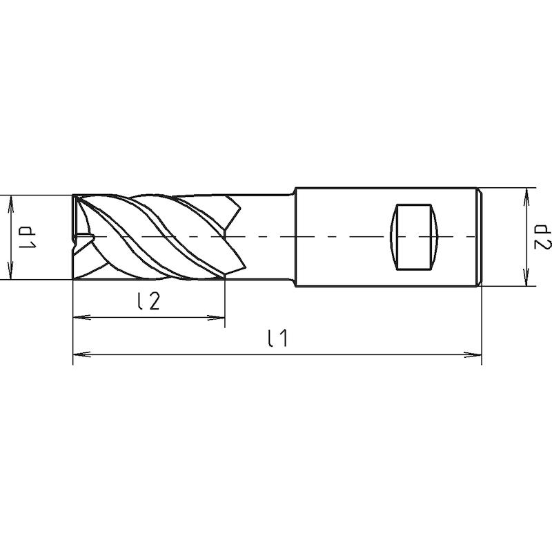 HPT-Schaftfräser HSCo-PM, DIN 844K, kurz, Vierschneider, zentrumschneidend - 2