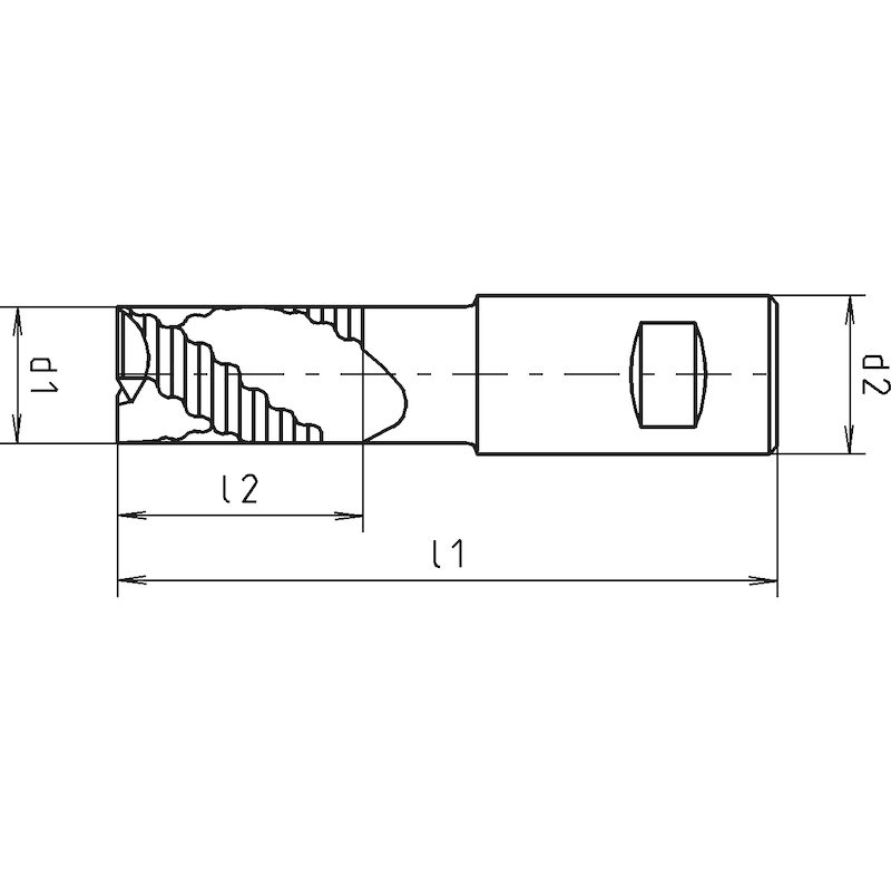 HPT-Schrupp-Schaftfräser, DIN 844K, kurz, zentrumschneidend - 2