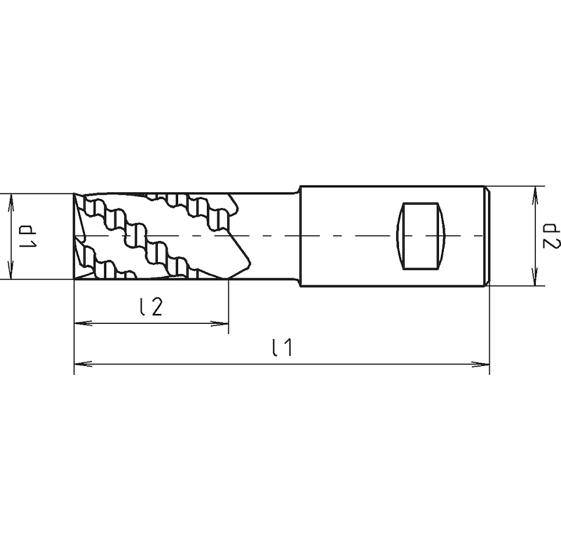 Schaftfräser HSCo8 kurz, DIN 844 K, zentrumschneidend - 2