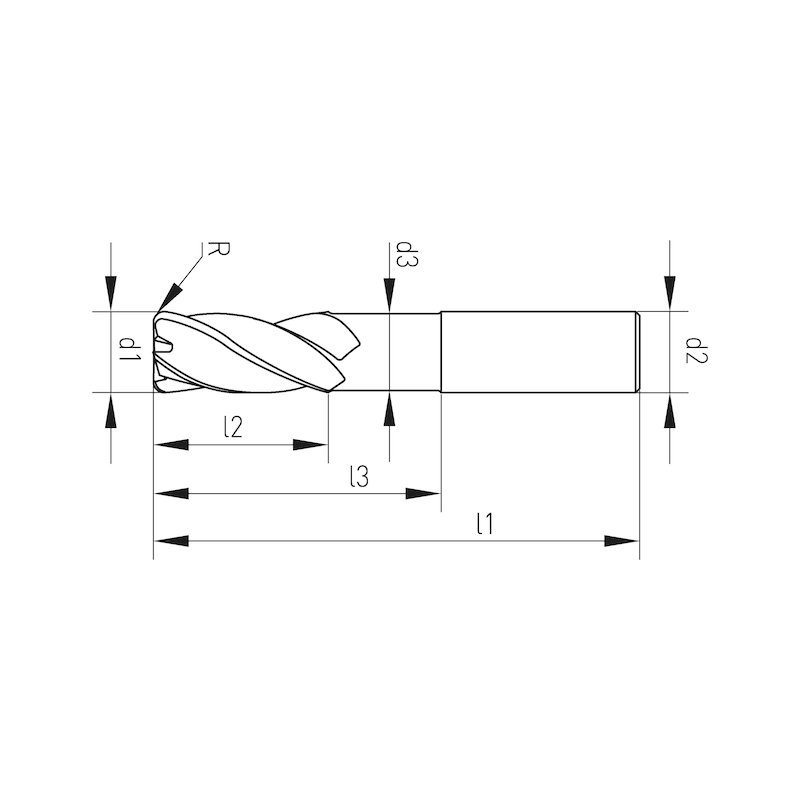 VHM-Schaftfräser mit Eckenradius Speedcut-Aluminium, extra lang XL, freigestellt, Dreischneider, ungleiche Drallsteigung - 2