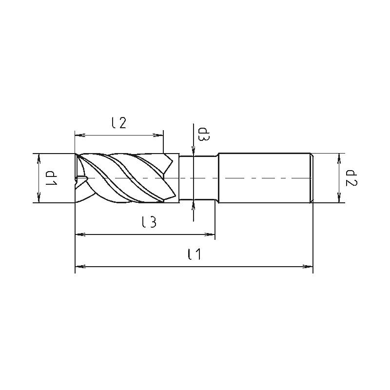 Schaftfräser HPC Speedcut 4.0-Universal, DIN 6527L, lang, freigestellt, Vierschneider, ungleiche Drallsteigung - 2