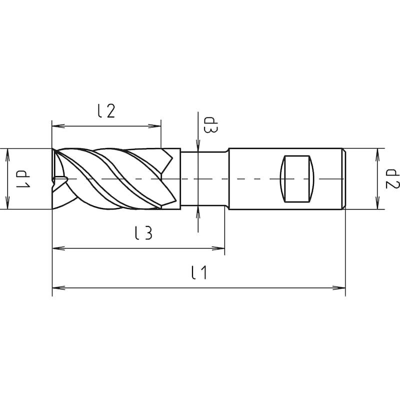 Schaftfräser VHM Speedcut-Universal, extra lang XL, freigestellt, Vierschneider, ungleiche Drallsteigung - 2