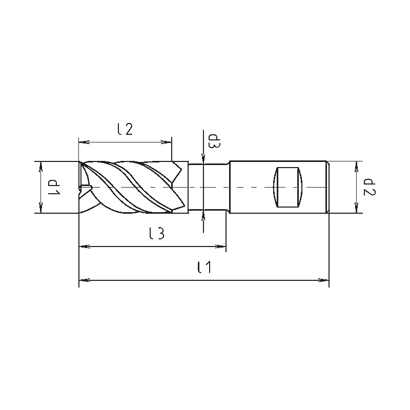HPC-Schaftfräser Speedcut 4.0-Universal, extra lang XL, freigestellt, Vierschneider, ungleiche Drallsteigung - 2
