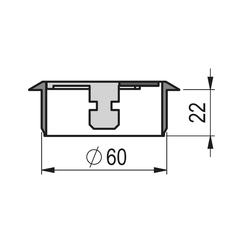 Kabeldurchlass rund zweiteilig - ZB-KBLDURCHLASS-SHREIBTI-SCHWARZ-D60MM