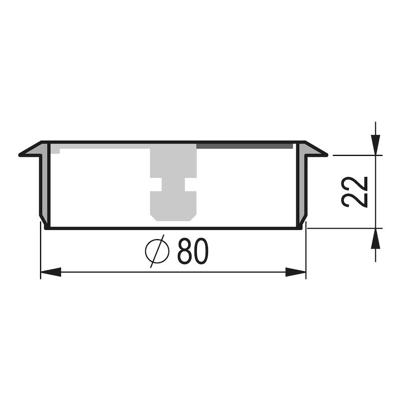 Kabeldurchlass rund zweiteilig - ZB-KBLDURCHLASS-SHREIBTI-BRAUN-D80MM