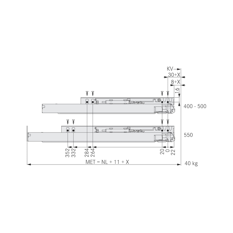 Underfloor guide, media extraction Dynapro soft-close, 40 kg - 6