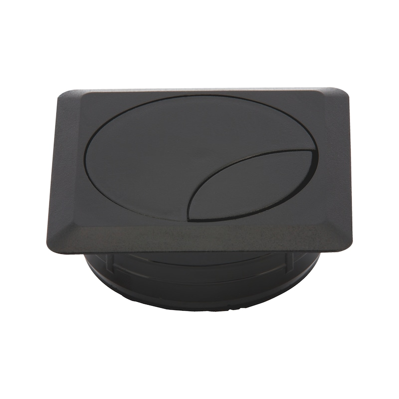 Square cable opening, two-part - AY-CABLEOUTLET-WRITDSK-BLACK-72X72