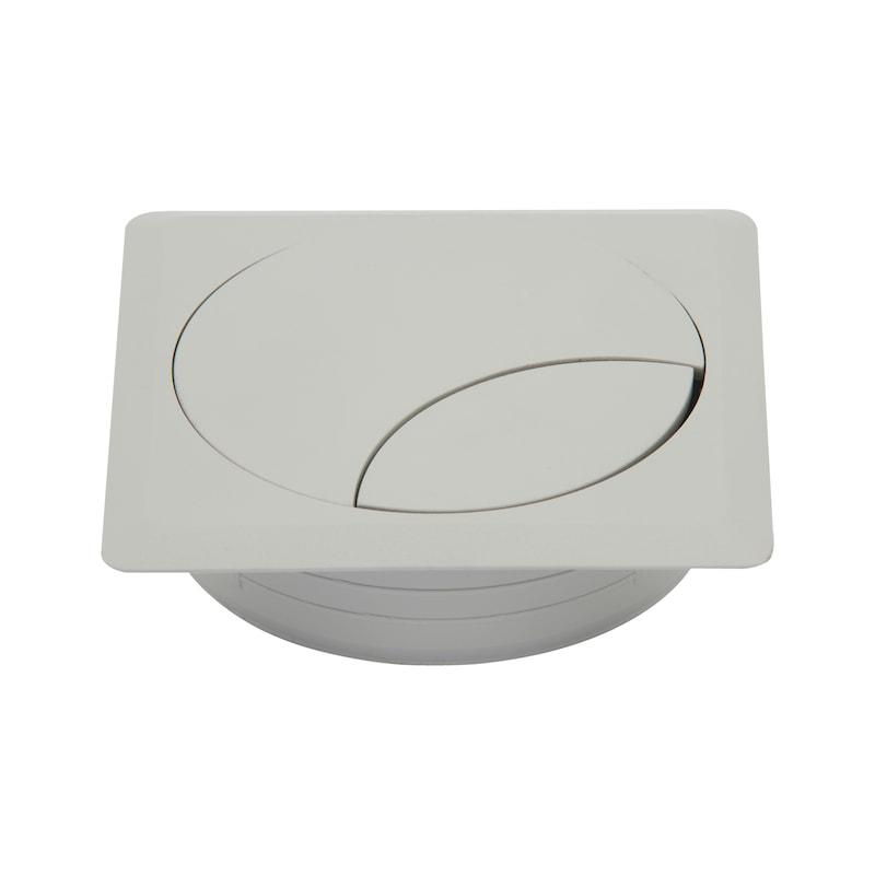 Square cable opening, two-part - AY-CABLEOUTLET-WRITDSK-GREY-92X92