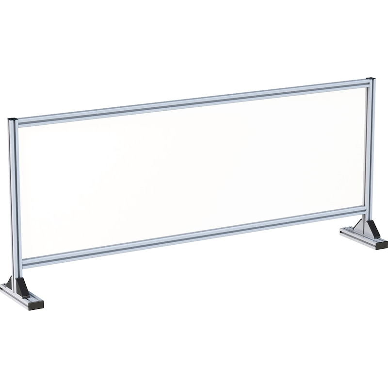 Hygienic FLEX protective screen for table Manufactured from the Würth aluminium profile system WAPS<SUP>® </SUP> - WAPS-HYGIENSHTZWAND-STAND-1575X250X670