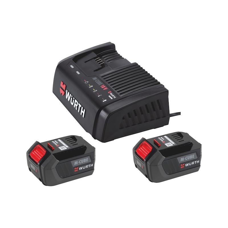 Powerpack 18 V M-CUBE<SUP>®</SUP> mit Ladegerät und 2 Akkus - POWERPACK-(2X5,0AH-6A)-M-CUBE