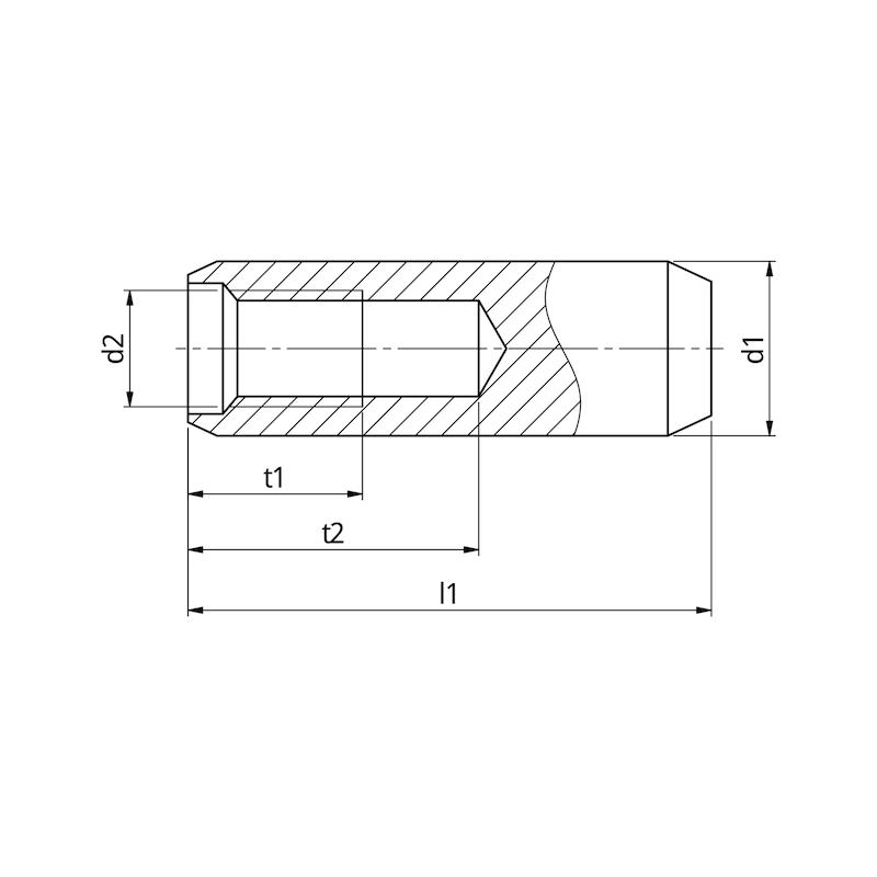 Zylinderstift Innengewinde ungehärtet - 2