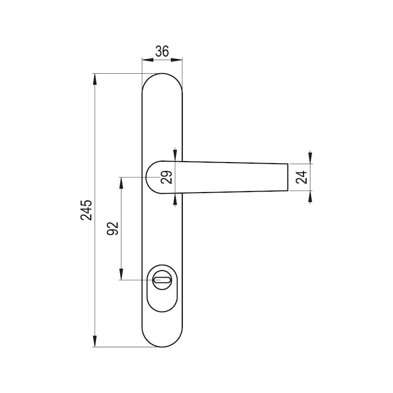 Türdrücker Flach auf Außenschild - TD-ALU-AUSSHILD-D-FLACH-ZA-92-8-216-F1