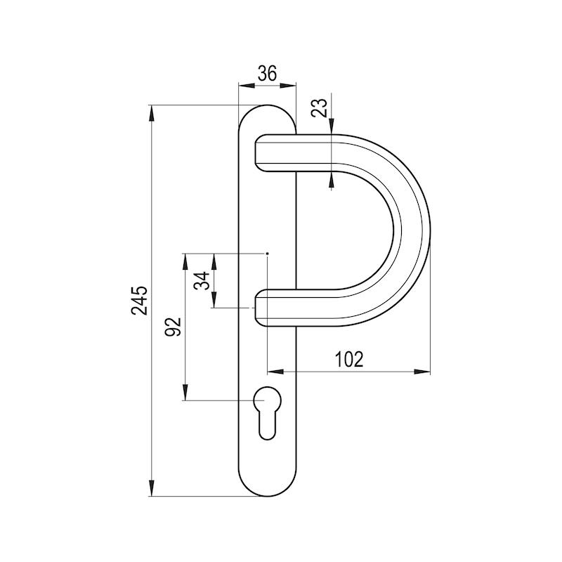 Bügelgriff Auf Außenschild - TD-ALU-AUSSHILD-BUE-PZ-92-8-216-WEISS