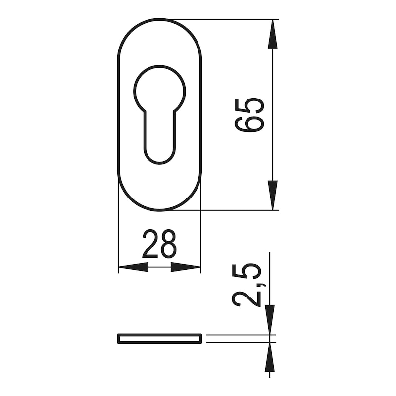 Ovalrosette - TD-ALU-OVAL-ROS-PZ-INNEN-2,5MM-F1/SILBER