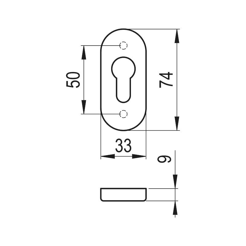 Ovalrosette - TD-ALU-OVAL-ROS-PZ-INNEN-9MM-WEISS