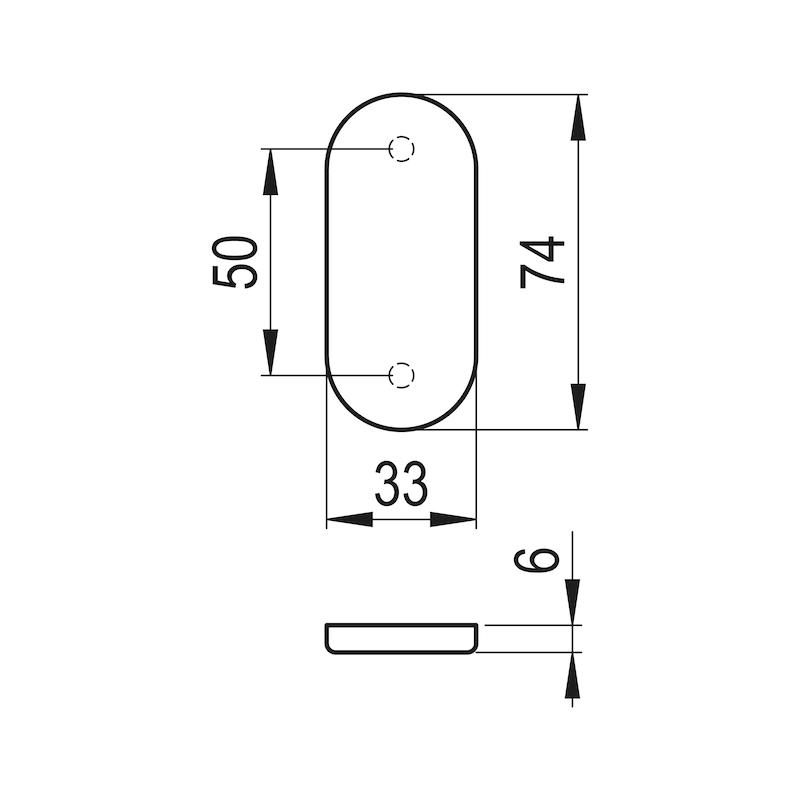 Ovalblindrosette - TD-ALU-OVAL-ROS-BLIND-INNEN-6MM-WEISS