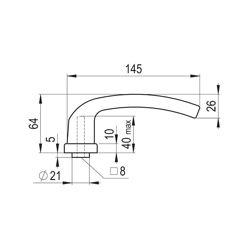 Türdrücker AL 900 auf Innenschild - TD-ALU-AL900-INSHILD-D-PZ-92-8-216-F9