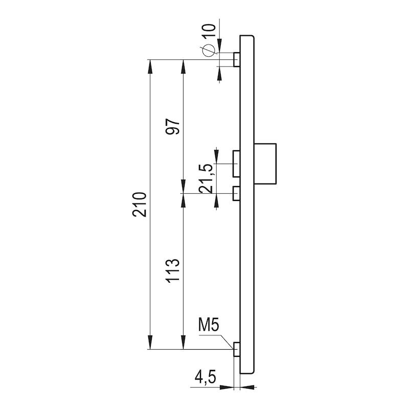 Türdrücker Flach auf Außenschild - TD-ALU-AUSSHILD-D-FLACH-PZ-92-8-210-F1