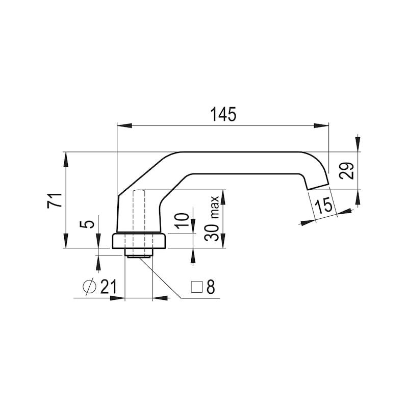 Türdrücker AL 920 auf Innenschild - TD-ALU-AL920-INSHILD-D-PZ-92-8-210-F9