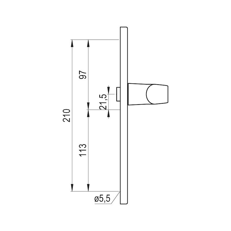 Türdrücker AL 900 auf Innenschild - TD-ALU-AL900-INSHILD-D-PZ-92-8-216-F1
