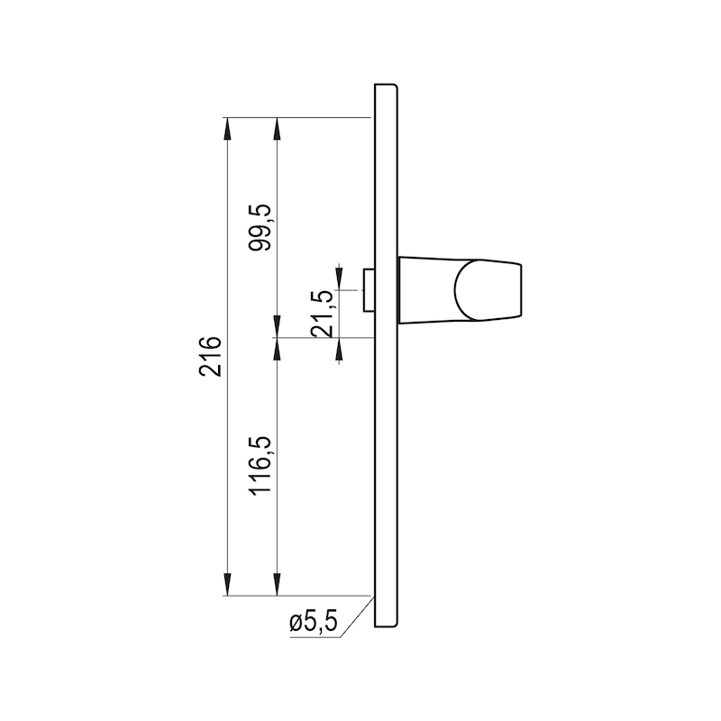 Türdrücker AL 900 auf Innenschild - TD-ALU-AL900-INSHILD-D-PZ-92-8-210-WEIS