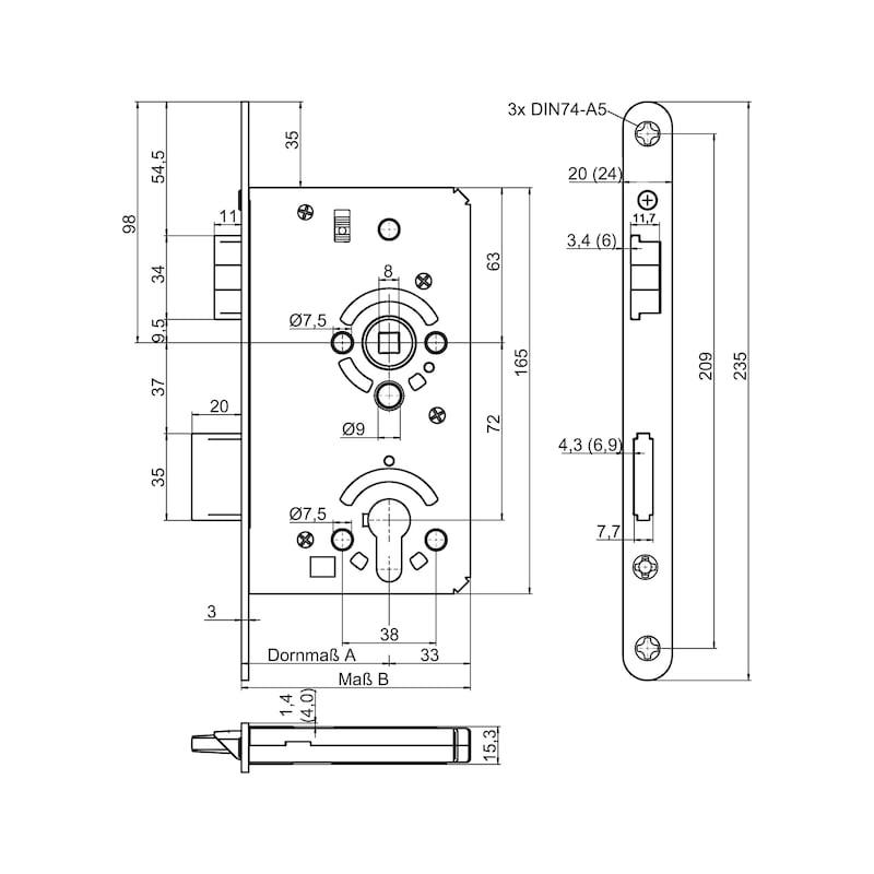 Objekttür-Einsteckschloss PZ Klasse 4 - EINSTESHLO-KL4-PZ-DIN/R-A2-FF-60-24MM