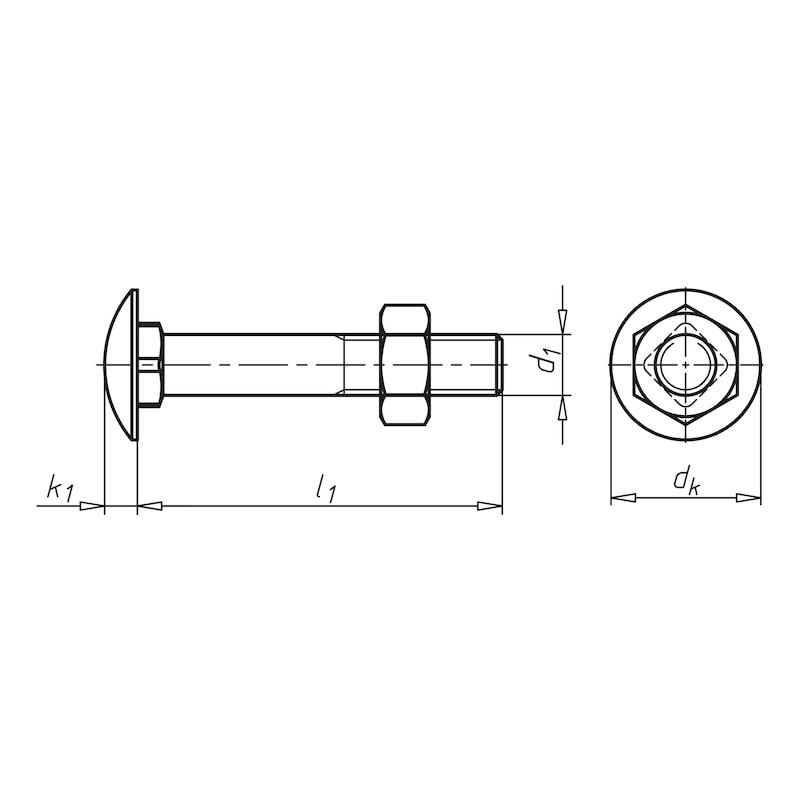 Vis à tête ronde avec collet carré et écrou - 2