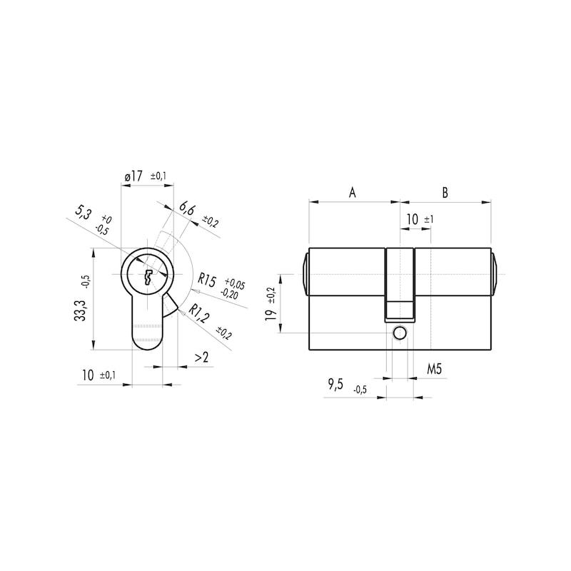 Profilzylinder S5 Eco - PRFLZYL-ECO-DP-5STI-(NI)-30X45MM