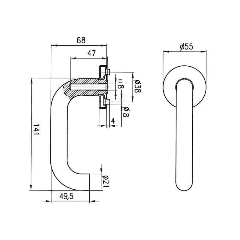 Drückerlochteil U-Form - SBS-A2-TD-U-L/R-MATT