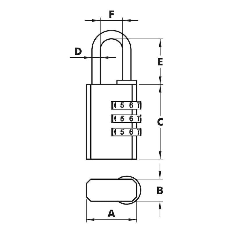 Vorhängeschloss  Combi-Lock - VORHAENGSHLO-(COMBI-LOCK)-MS-40MM