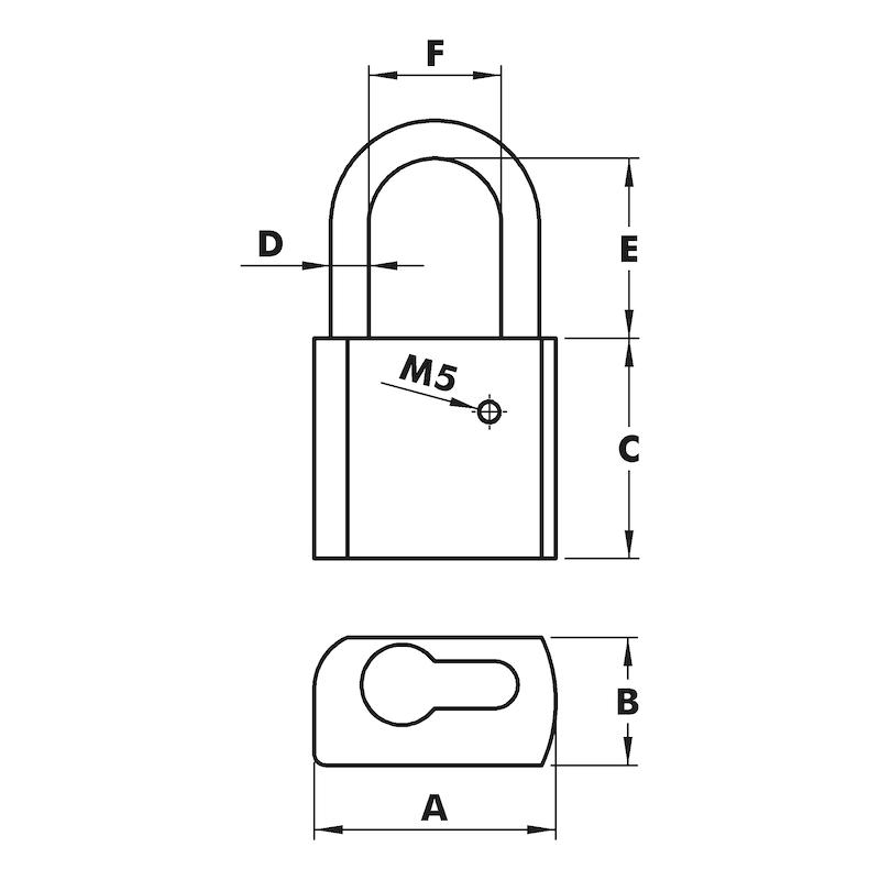 Zylinder-Vorhängeschloss Für Profil-Halbzylinder - 2