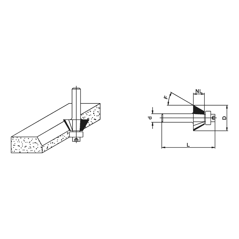 Holzfräser Fasefräser mit Kugellager - 2