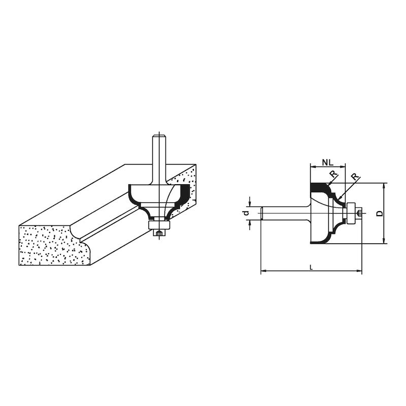 Holzfräser Multiprofilfräser mit Kugellager - FRS-PRFL-KUGLGR-HM-S8-D36,7-L61MM