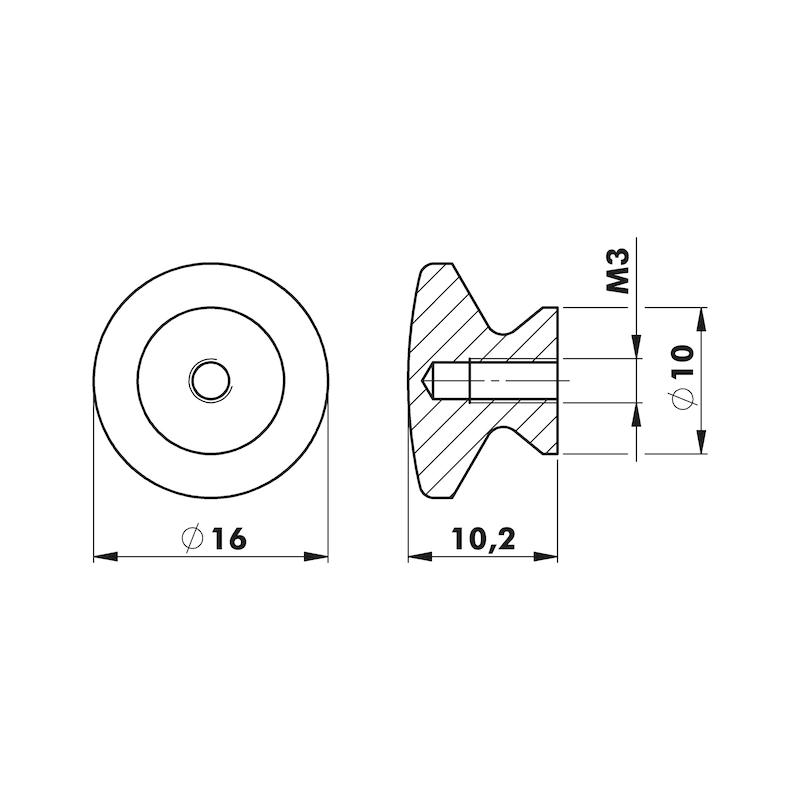 Knopfgriff mit Innengewinde für Insektenschutz - 2