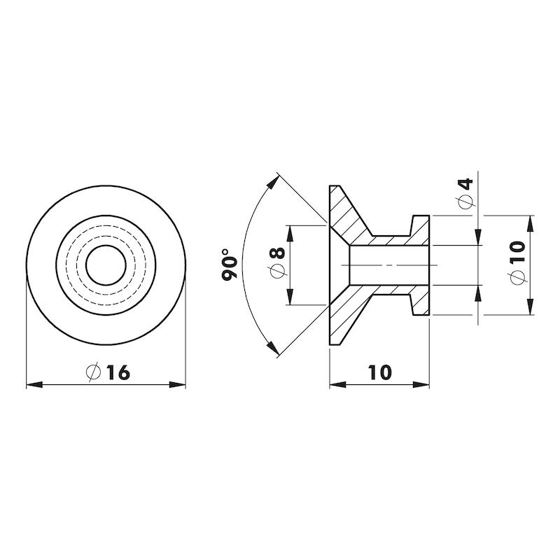 Knopfgriff mit Durchgangsbohrung für Insektenschutz - ZB-KNOPFGRIFF-INSSHTZ-HZGE-DUBO-(NI)