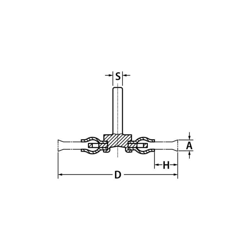 シャンク丸ブラシ(編組スチールワイヤー) - シャフト付ワイヤーホイール 7CM