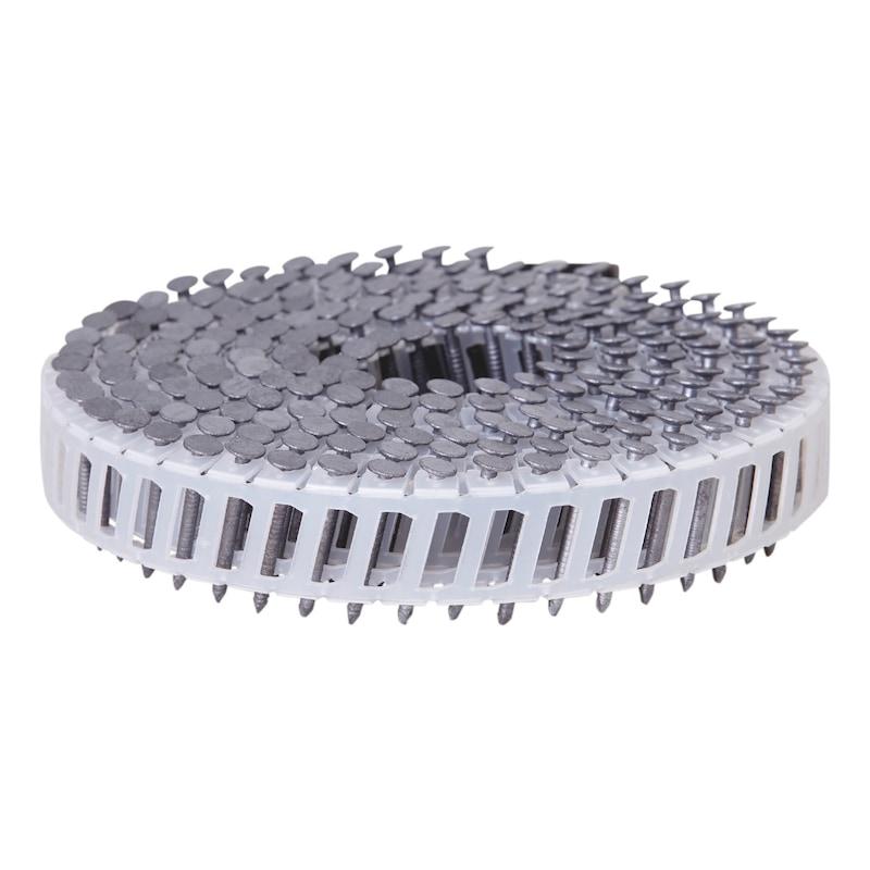 Pointes en rouleau annelées tête plates galva à chaud 50µm 16° liaison par fil inoxydable
