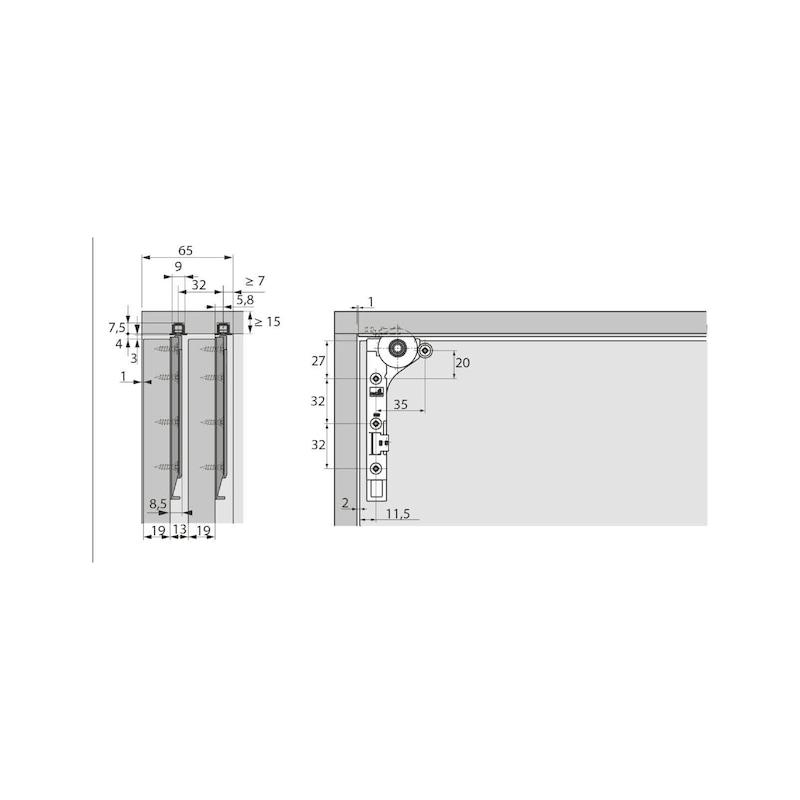 Einfachlaufschienen-Set einliegend SlideLine M - 2
